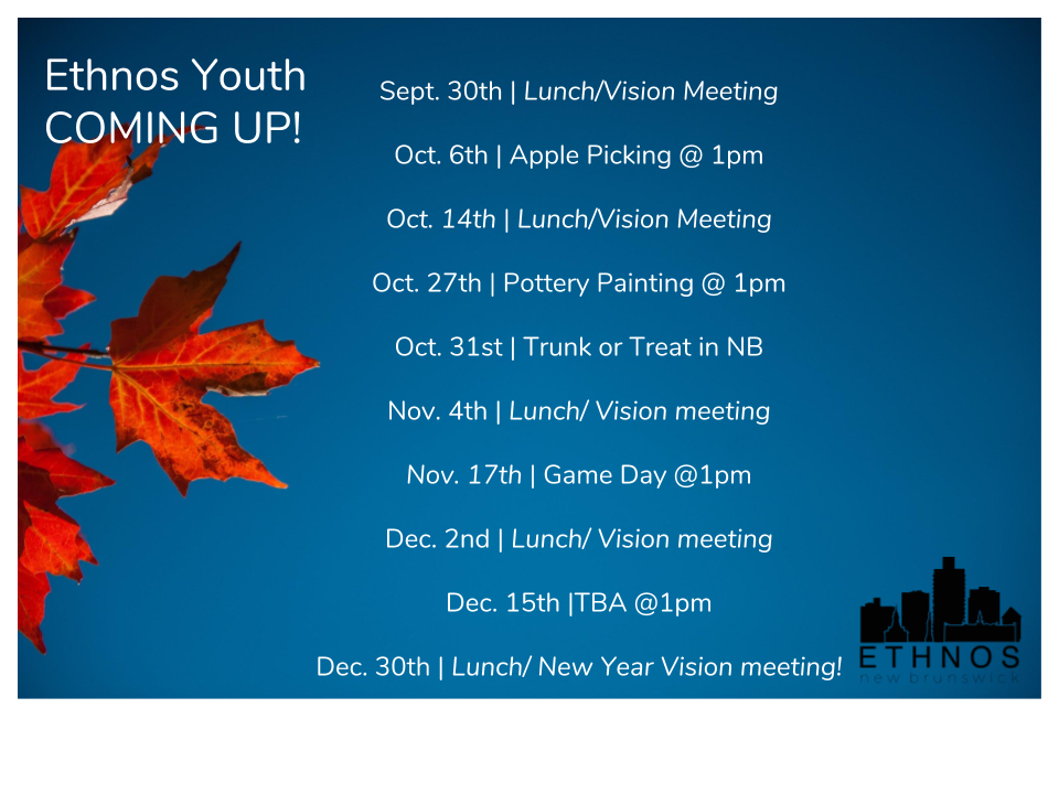 Fall Youth Calendar